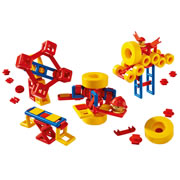 3 years & up. Shapes snap together securely, but with minimum effort, so children can easily explore, develop imagination, and improve fine motor skills. Ships in Plastic Bag. 120 piece set.
