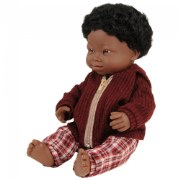 "Doll with Down Syndrome 15"" - African Boy with Outfit"