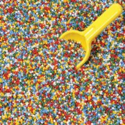 3 years & up. A great sensory alternative to sand, oatmeal, or rice! These colorful polypropylene plastic pellets are non-allergenic. Floats in water for sand and water table fun. Works well in art projects too!