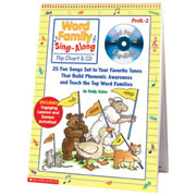 "PreK - Grade 1. Building phonemic awareness is a joy with this BIG, laminated flip chart and CD featuring 25 engaging word family songs sung to favorite tunes! Turn to this sturdy, colorful resource every day to teach rhymes, build phonics skills, and help kids develop a love of language! Approximately 20""H x 15""W."
