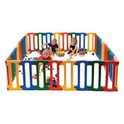 "Birth - 5 years. This bright and colorful playpen is also tough and durable. Made of high Density Polyethylene with rounded edges and corners this playpen can take on lots of different shapes. This set includes 32 individual panels, 8 yellow, 8 blue, 8 red and 8 green. Suitable for indoor and outdoor use. Assembly required. Height is 23""."