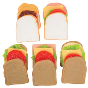3 years & up. Mix and match to make favorite sandwiches or create originals! Ingredients for 5 life-sized sandwiches: 10 bread slices, peanut butter, jelly, lettuce, bologna, ham, turkey, tomato, and cheese. Includes 27 total pieces.