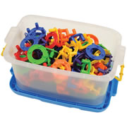 "3 years & up. Perfect for building tall, round towers or for interlinking to create a variety of patterns. Each plastic ring measures 2"" in diameter and 3/4"" high, and comes in 6 different colors. 96 pieces."