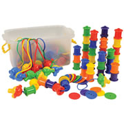 "3 years & up. Stack, sort, lace and more - the possibilities are endless! Colorful, plastic buttons and spools in 6 different colors feature large holes for lacing and stack for counting and sorting. Includes 16-28"" laces and 12 stoppers to use at the end of the laces. Great for early math skills, color recognition and fine motor development."