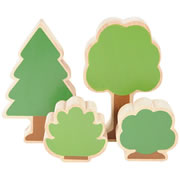 "3 years & up. Add a bit of nature to block construction with this set of 8 wooden trees and 6 bushes. Pine tree measures 5 1/2""H x 3 1/2""W. Bushes measure approximately 3 1/2""H x 3 1/2""W."