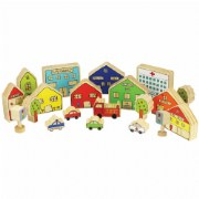 "2 years & up. Everything you need to create a block town! This 20-piece wooden set includes ten community buildings and homes along with vehicles, trees, and stop lights. The hospital measures 4 1/4""H x 4 3/4""W x 1 1/4""D."