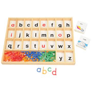 "Sorting tray has 26 compartments, each with a letter of the alphabet printed inside, plus a card and letter storage section. Includes 75 picture-word cards, 75 word cards (135 when cut apart), and 51 lowercase letters.  Wooden tray: 15""L x 12 1/2""W x 1""D."