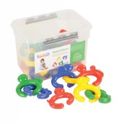 "10 months & up. Connect the cute animals and build fine motor skills as children create a colorful chain.  Set includes 24 animal links approximately 4"" long with a storage tub."