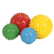 "6 months & up. This set includes 4 sensory balls which are made of a soft vinyl in 4 colors and 2 sizes (8"" and 4""). Wonderful for tactile experience and eye-hand coordination. Balls are shipped deflated."