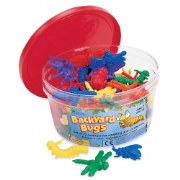3 years & up. These colorful counters turn sorting and counting activities into exciting adventures. Soft rubber counters in 6 colors packed into a reusable plastic tub. Suggested activities also included. Set of 72 bugs in one tub.