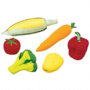 18 months & up. Now toddlers can have their own play food. Soft fabric over foam. Six-piece vegetable sets. Surface wash.