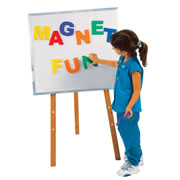 "Big, easy to handle and easy to read letters. Each bright colored letter is approximately 5"" high and magnetized on the back. Works great on our magnetic white board/felt back room divider as shown here or our new Classroom Storage Plus furniture line."