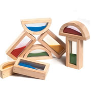 "2 years & up. These wood framed blocks add a new look to block play. Each set includes four square and four half circle blocks (5""L) with sand filled centers. Set of 8."
