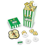"Grades 1 & up. Fun theme engages even reluctant readers! Grab a popcorn piece and build a word with that beginning blend or digraph. Pull out a POP kernel, and all your pieces go back! Includes 92 blend cards, 8 POP cards, spinner and guide (printed on box). Measures 3""L x 3""W x 6 1/4""H. For 2 - 4 players."