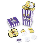 "Grades 1 & up. Literacy practice that students will love!  Pull out a popcorn piece and create a word with that ending. A POP kernel means all your pieces go back! Start with 2-letter endings, then move up to 3-letter endings and rhyming practice. Includes 92 word family cards, 8 POP cards, spinner and guide (printed on box). Measures 3""L x 3""W x 6 1/4""H. For 2 - 4 players."