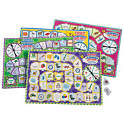 "Grades K & up. Build reading skills the fun way with these unique puzzle games. This set of four Learning Lift-Off puzzles features: Singular and Plural Nouns, CVC Words, Vowel Digraphs, and Blends! Students spin to advance, answer questions on the puzzle piece, then lift the piece to see the answer. Spinners and tokens are integrated on the game board. Thick, laminated puzzle game is 11"" x 15"" with self-storing pieces. For up to 4 players."