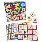 Grades K - 2. Match letters and sounds with this interactive group game. Each board features 3 CVC words shown in a picture. Be the first to blend and match the correct letters as they're called out to form CVC words and win the game. Contains 6 playing boards and 54 color-coded letter cards.