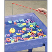3 years & up. Look! No magnets! Learn the alphabet as you catch a letter in the water. Cast your line using 4 poles and secure all 26 foam letters of the alphabet. The dense EVA foam actually floats so kids make an easy catch. Set includes 4 water activity different games.