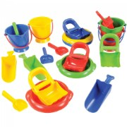 "2 years & up. Scoop, dig, pour and more! Rugged plastic sand set includes a total of 20 pieces - four 7"" high buckets with handles, and four each: shovels, hand diggers, scoops with handles, and large sieves. Pieces and colors may vary from those shown."