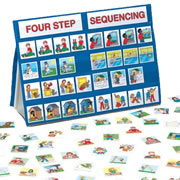 "3 years & up. A great way to help children develop skills in sequencing, ordering of events, memory, observation, storytelling, and logical thinking. This 18""W x 13""H portable table top pocket chart set includes 100 thick sequencing tiles, folding stand, and activity guide."