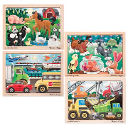 Wooden Jigsaw Puzzle Set (Set of 4)