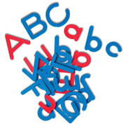 "3 years & up. These distinctive alphabet letters are a wonderful way to introduce dozens of alphabet activities and to practice word building. They are 3/4"" to 2"" high and made of tough, durable plastic. Includes 155 lowercase letters (10 of each vowel and 5 of each consonant) plus two sets of uppercase letters. 207 letters in all. Red vowels and blue consonants."