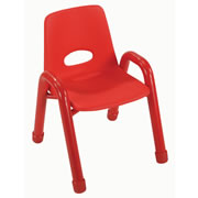 "Nature Color Husky Stackable Chair 11 1/2"" - Red"