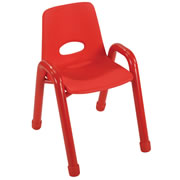 "Nature Color Husky Stackable Chair 13 1/2"" - Red"