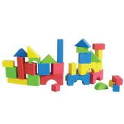 "3 years & up. These smooth, colorful, soft foam blocks are ideal for young children. Dense foam 2 inch blocks won't pinch, tear, splinter or absorb moisture. Includes 30 blocks in a variety of shapes plus storage case. Sizes range between 1 1/4"" x 1 1/4"" to 6 1/2"" x 3 3/4""."
