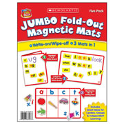 "5 years & up. Set of 5 write-on/wipe-off word building and sorting mats. Double-sided 18"" x 12"" (folds to 9"" x 12"")."