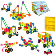 3 - 7 years. Make 6 transportation models at once with these 183 pieces! This set is designed to appeal to boys and girls and can be used by children with varying fine motor skills. Storage container with lockable lid included.