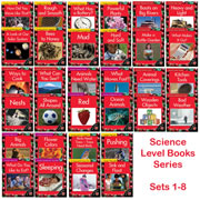 Integrate Science into your guided reading instruction!  These leveled reader sets cover 4 strands of science content; earth/space, energy, life science and matter. Each set includes 4 different books with labeled photos, charts, diagrams and an activity page to reinforce and extend the content. Each book also includes teacher support pages with instructional sequencing for comprehension and vocabulary, oral language and writing activity suggestions and two pages of independent follow-up work. Complete set includes all 32 student readers.