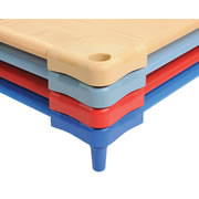 "Our lightweight cots are fully assembled and easy-to-clean. With a low profile frame and sturdy construction, they provide the durability children need. Features a no-gap, vinyl-coated removable polyester mesh cover that attaches with Velcro®, a powder-coated steel tube frame, and an 8-year warranty. To clean: use mild detergent, or soap and water on a damp cloth. Measures 52""L x 21""W x 5 1/2""H. Weight limit: 60 lbs."