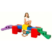 "3 - 6 years. Catch the wave as you crawl, climb, and balance on this unit. Includes 2 ""U"" slot-in blocks, 1 mini bridge, 1 wave, 1 set of steps, and 1 balancing beam. Can be configured into multiple shapes. Approximately 24"" high. Does not meet CPSC or ASTM standards for public playgrounds."