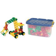 3 years & up. Design all types of construction vehicles with our engineering set. Perfectly sized for small hands, children can connect the chunky bolts, wheels, and joints. As children build, they boost planning and motor skills. A total of 210 pieces in a stackable plastic container.
