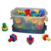 "3 years & up. Our easy to grip nuts and bolts are fun to connect -- just match them up by color and shape, then twist them together! 72 plastic pieces come in a storage box; bolts are approximately 2 1/2""."