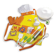 4 years & up. Real kitchen utensils and accessories sized right for small hands. Includes 2 oven mitts, apron and chef hat, large mixing bowl, measuring spoons and cups, timer, cookie cutters and an array of cooking utensils. 27 pieces.