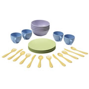 2 years & up. Brightly colored eco-friendly place setting for four includes 4 each of: plates, bowls, cups, fork, knife and spoon. Made of durable recycled milk jugs, are non toxic and meet FDA requirements for food contact. Made in the USA.