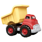 "12 months & up. Tough and durable, this dump truck is 100% made from recycled milk cartons. The eco design features a workable dumper and no metal axles to rust. 10 1/2""L x 7 1/4""H. Made in the USA."