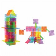 3 years & up. Add a new dimension to manipulative play. Simply clip the edges together to create an unlimited array of constructions. Build people, buildings, animals and more. Translucent plastic panels with inset details in five beautiful colors. Enhance the designs by creating them on top of a light table. 96 piece set.