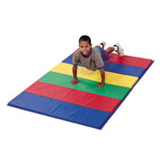 "Multi-colored 1-1/2"" specially formulated poly foam, designed for exploratory gymnastics or discovery play for preschoolers and toddlers. Double folded seams and hems. Velcro® at both ends fasten mats together for tumbling strips. Light, portable mat with sewn 1 foot and 2 foot panels that fold every 2 feet. All heavy duty 14 oz. vinyl-coated nylon covers meet California specs for flame retardancy."