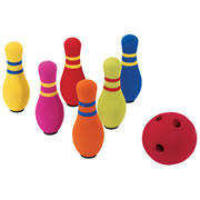 3 years & up. Six pin bowling set includes flat bottomed pins and foam ball. Great for indoor play or out. Set is packed in sturdy zippered bag for portability and storage.