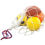 This set of coated high density foam sports balls with vibrant colors resembles traditional sports balls, but their softness makes them perfect for fun with all age groups. Storage bag included.