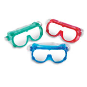 "PreK & up. Use safety goggles any time students need reliable eye protection. Sized for students and adjustable for adults. Goggles measure 6"" x 3"". Set of 6 come in 3 bright, translucent colors (red, blue and green). Meets ANSI Z87.1 safety standards."