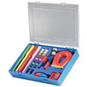 PreK & up. Everything you need to teach the basics of magnets! Includes 1 super magnet, 20 magnetic marbles, 4 wand magnets, 1 horseshoe magnet, 1 compass magnet, 1 set of floating ring magnets, and 2 plastic cased magnets.