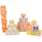 2 years & up. This set of 32 handmade wooden blocks includes 5 complete alphabets (2 in Braille and 1 in sign language) plus printed numbers and letters. Sturdy design acceptable for all types of play. Made in the USA.