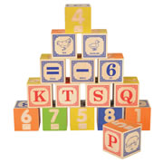 2 years & up. This set of 16 handmade embossed wooden blocks include the numbers 0-9, plus early operations signs in braille. Includes number words, alphabet, and simple vocabulary in picture format. Made in the USA.