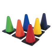 "Bright, pliable cones coordinate perfectly with our colored playground balls. Set of 6, one of each color. 12"" H."