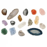 3 years & up. Children will be excited by the Science center that contains this assortment of 18 nature items.  Includes 2 fossils, 2 agate slices, 2 shells, and an interesting collection of rocks and minerals.