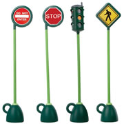 "4 - 6 years. Durable traffic signs for use indoors or out. Weatherproof plastic with weighted base (fill with water or sand). The pedestrian crossing sign measures 53 1/4""H."